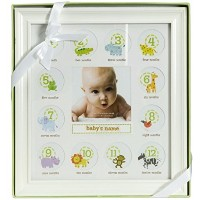 Stepping Stone Baby's First Year Picture Frame (White Frame with Room to Add Baby's Name) by...