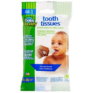 Baby Buddy Tooth Tissues Stage 1 for Baby/Toddler, Bubble Gum Flavor Kids Love, White, 30 Count by...