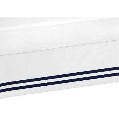 Navy and White Twin Bed Skirt for Anchors Away Nautical Bedding Sets