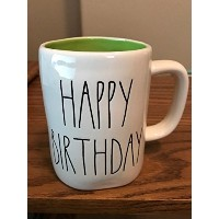 Rae Dunn byマゼンタHappy Birthday in large letters with Green Interior Coffee Tea Mug