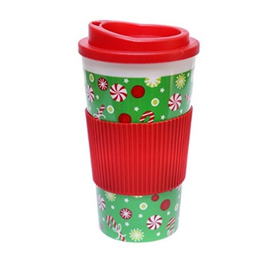 christmas-themed double-wall旅行コーヒー/お茶タンブラーCup with Lid