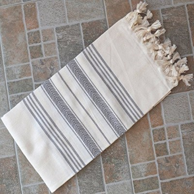 (Gray) - Dandelion - Ivory Basic Pattern - Naturally-Dyed Cotton Turkish Towel Peshtemal - 180cm x 100cm - Grey