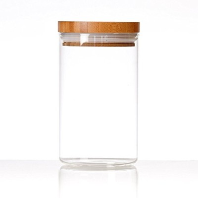 (M) - Cosy Homy Clear Glass Snack Sugar Tea Storage Jar Bottle Round Shape Glass Food Storage Jar...
