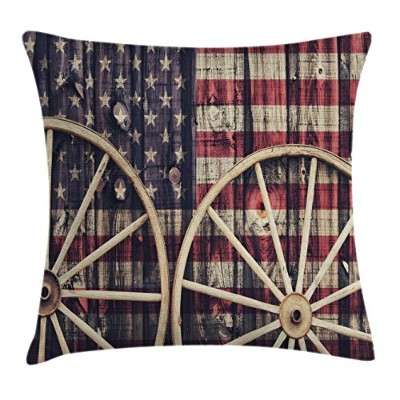 Westernスロー枕クッションカバーby Ambesonne、アンティークカートCarriage Wheels with American Flag inレトロヴィンテージ色新しい世界印刷...