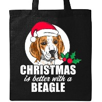 Inktastic–クリスマスはBetter With A Beagleトートバッグ One Size ブラック