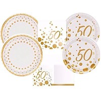 Sparkle & Shineゴールド50th記念日パーティーSuppliesキットIncludingディナープレート、Dessert Plates &ナプキンと招待状for 16Guests