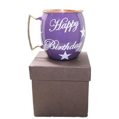 (Purple) - STREET CRAFT Happy Birthday Hand Painted Copper Mugs Special Deign For Gift On Birthday...