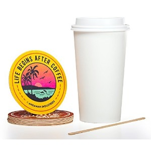 Solo White 20 oz Paper Coffee Cup Bundle - Cup, Lid, Stir Stick, and Coaster by Andaman (Set of 100...