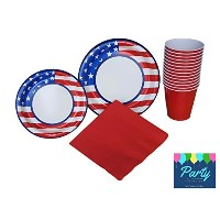 Memorial Day Party Supplies 40ゲストの( Stars & Stripes ) Including : Dinner / Luncheon Platesデザートプレート...