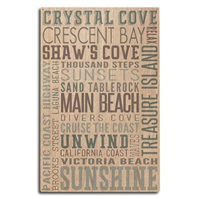 Crystal Cove、カリフォルニア–Typography 10 x 15 Wood Sign LANT-54603-10x15W