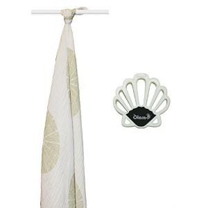 Aden + Anais Bundle: Organic Oasis Single Muslin Swaddle Blanket + 2 Clam-p Stroller Blanket Clips in White by aden + anais