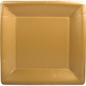 Caspari EntertainingソリッドゴールドSquare Dinner Plates Pack of 16 ゴールド COMINHKPR73379