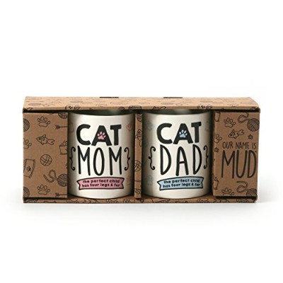 Enesco 6001231Our Name Is Mud Cat Mom And Dad Stoneware Mugセット、12オンス、マルチカラー