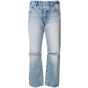 Moussy Vintage distressed straight jeans - ブルー
