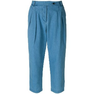 YMC high waist cropped trousers - ブルー