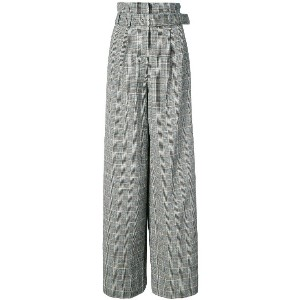 Maison Margiela checked flared trousers - ブラウン