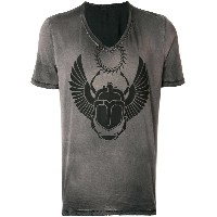 Frankie Morello distressed print V-neck T-shirt - グレー