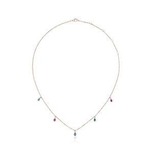 Yvonne Léon 18k yellow gold ruby, sapphire and tsavorite necklace -