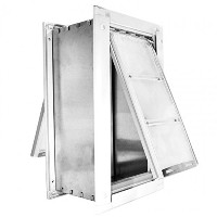 Endura Flap Medium Wall Mount - White Double Flap 20.3cm x 35.6cm pet door
