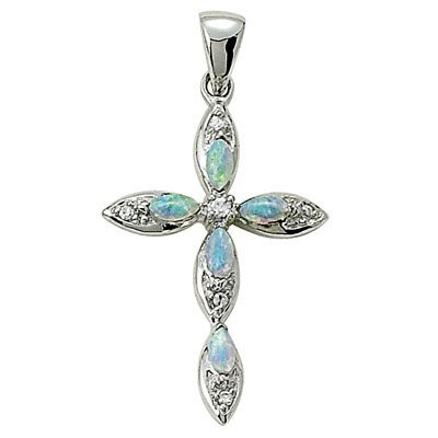 Sterling Silver Cross Pendant with Opal Tone Accents, 2.5cm
