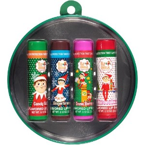 The Elf on the Shelf 4 0.12oz Christmas Flavored Lip Balms in Decorative Green Tin [並行輸入品]
