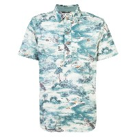 Rrl print short-sleeve polo top - ブルー
