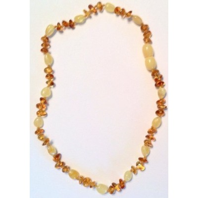 The Art of Cure Baltic Amber Teething Necklace for Baby (Cognac Chip/Yellow Bean) - Anti-inflammator...