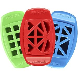 FunBites Food Cutter Set, Green Squares/Red Hearts/Blue Triangles by FunBites