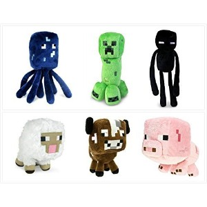 """Official Minecraft Overworld 7"""" Plush Set of 6: Squid、クリーパー、Enderman、Baby Pig、牛、&羊 Set of 6..."""