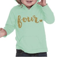 Girl Fourth Birthday Shirt, Fourth Birthday Outfit, Four Year Old Birthday Outfit (4T, Ice Green)...