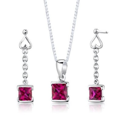 Sterling Silver Rhodium Finish Princess Cut Ruby Pendant Earrings and 45.7cm Necklace Set