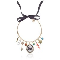 Betsey Johnson Mixed multi-charm調節可能チョーカーネックレス