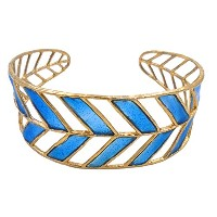 Intricate Branches Cuffブレスレット( 24 K金メッキwith Blue Enamel Inlay ) by Mercedes Shaffer