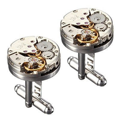 grayBIRD Cool Watch Movement Cufflinks for Men with aギフトボックス