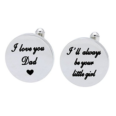 MelixホームI Love You Dad Cuf Flinks , I Will Always Be Your Little Girlカフスボタン、結婚式誕生日クリスマスギフトfor Dadから娘