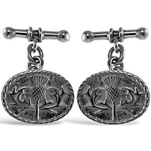 スターリングシルバーScottish Thistle Chain Cufflinks