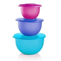 Tupperware Impressionsクラシックボウルのセット3in Cool Aqua、Lupine andラディッシュ