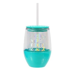 DEI Off DutyマーメイドHolographic StemlessワイングラスTumbler with Lid and Straw–ターコイズ