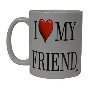 Rogue River面白いコーヒーマグI Love My Best Friend Heart Novelty Cup Great Gift Idea For兄弟BrotherまたはBest...