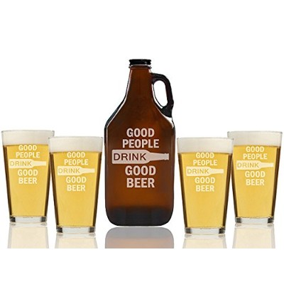"Chloe and Madison "" Good people drink goodビール"" Amber Growler & Pint Glasses、5のセット"
