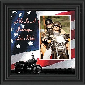 Life 's A Journey、Harley Davidson Motorcycle withアメリカ国旗背景、10 x 10 9751 10x10 ブラック 9751B