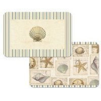 Set of 4 Shell Collage Reversible Placemats - Starfish and Shell Theme Placemats - Reversible...