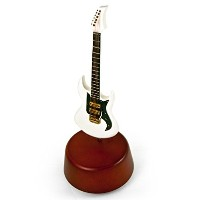Incredible 18 NoteミニチュアホワイトElectric Guitar with Rotating Musical Base 250. Memory (Andrew Lloyd...