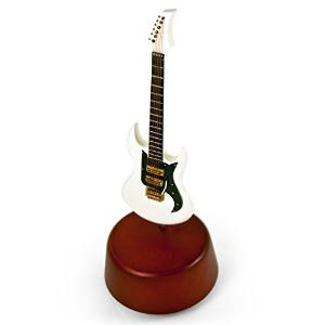 Incredible 18NoteミニチュアホワイトElectric Guitar with Rotating Musical Base 250. Memory (Andrew Lloyd...
