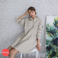 送料 0円★PPGIRL_B732 S shirt dress / Stripe dress / Collar dress / Cotton dress / casual dress / long