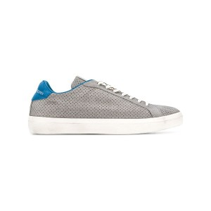Leather Crown perforated lace-up sneakers - グレー