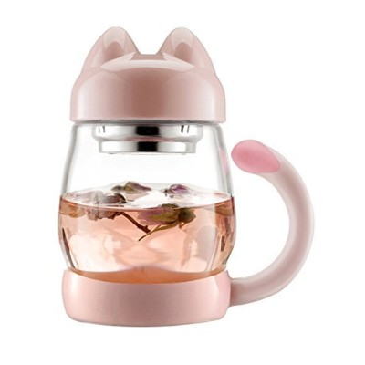 (Pink) - BZY1 410ml Glass Tea Cup with a Lid & Strainer , Portable Cute Cat Tail Heat Resistant...