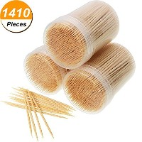 1410 Pieces Bamboo Toothpicks Round Toothpick with Storage Box, 3 Packs