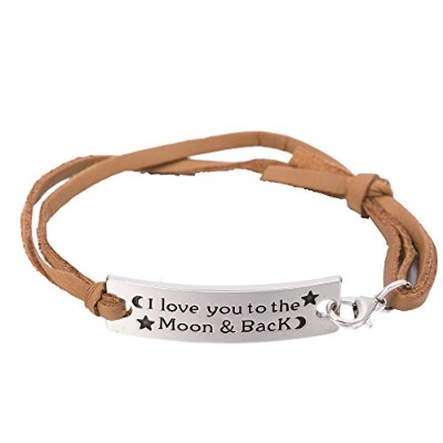 Loveレザーロープブレスレットwith Words I Love You To The Moon。。。。インチ、ファッションジュエリーの人