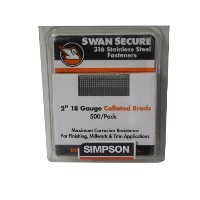 Simpson Swan Secure T18N200FNB 18-Gauge 316 Stainless Steel 2-Inch Brad Nails, 500 Per Box by...